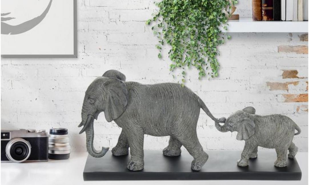 Купить СКУЛЬПТУРА ELEPHANT FAMILY K110 122x491x217 GREY ARHOME